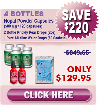Existing Client - 4 Bottles Freeze Dried Nopal Powder Capsules & 2 Bottles Prickly Pear Drops & 1 Pure Alkaline Water Drops With Coral Calcium