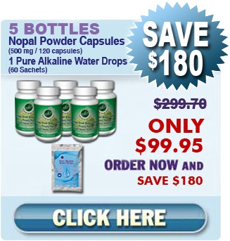 First Time Client - 5 Bottles Freeze Dried Nopal Powder Capsules & 1 Pure Alkaline Water Drops With Coral Calcium